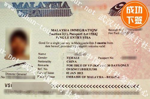 李小姐马来西亚个人旅游签证下签成功